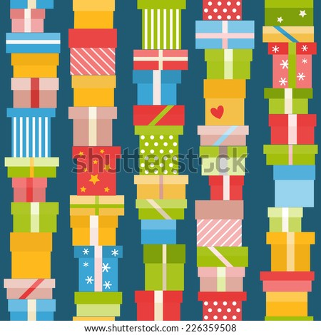 Bright seamless pattern with flat gift icons - stock vector
