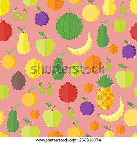 Bright seamless pattern with fresh fruits and berries. Vector background