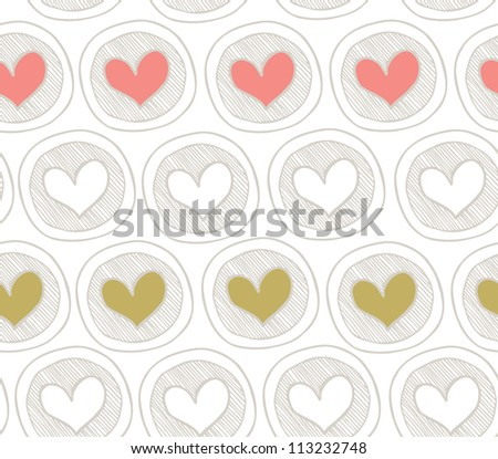 Bright seamless pattern with hearts in circles. Abstract background with many decorative elements. Colorful cute texture - stock vector