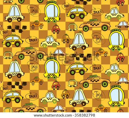 Bright seamless pattern with little fun cars and taxi in warm yellow colors.