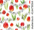 Bright seamless pattern with oil painted red tulip flowers end notes, design elements. Floral pattern for wedding invitations, greeting cards, scrapbooking, print, gift wrap, manufacturing - stock photo