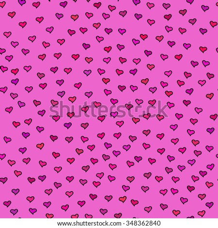 Bright seamless pattern with tiny hearts. Abstract repeating. Cute backdrop. Hot pink background. Template for Valentine's, Mother's Day, wedding, scrapbook, surface textures. Vector illustration. - stock vector
