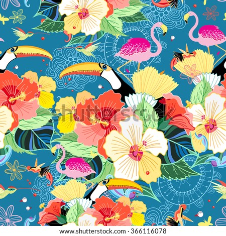 bright seamless tropical pattern with flowers and birds on a blue background - stock vector
