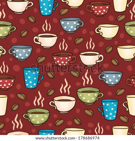 Bright seamless vector pattern with coffee mugs and cups - stock vector