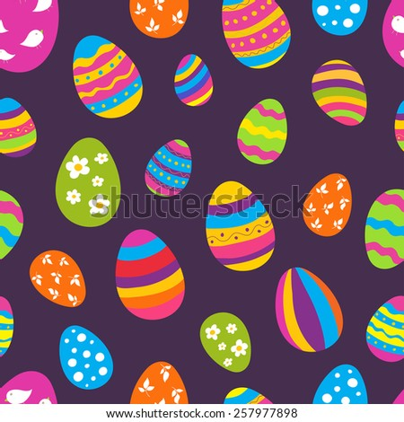 Bright seamless vector pattern with Easter eggs. Ideal for celebration card, wrapping paper, textile, wallpaper, web pages background, scrap booking