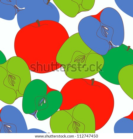 Bright seamless vector texture with apples - stock vector