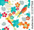 Bright seamless vector texture with birds and flowers - stock vector
