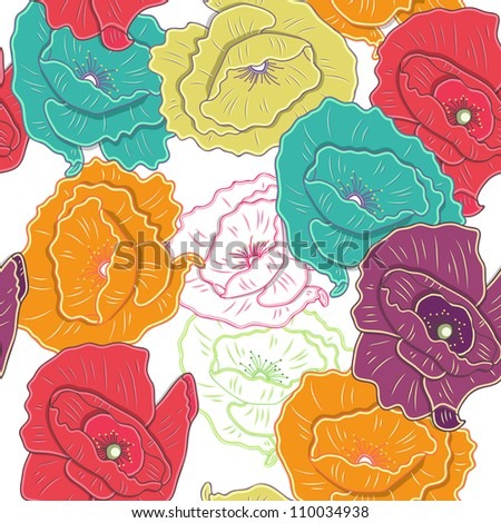 Bright seamless vector texture with flowers - stock vector
