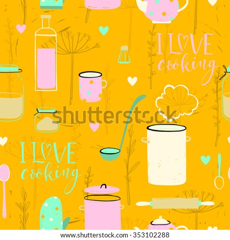 Bright sentimental silhouette cooking equipment seamless pattern design with herbs and hearts. can be used for textile, wallpapers, posters, banners, backgrounds and other design