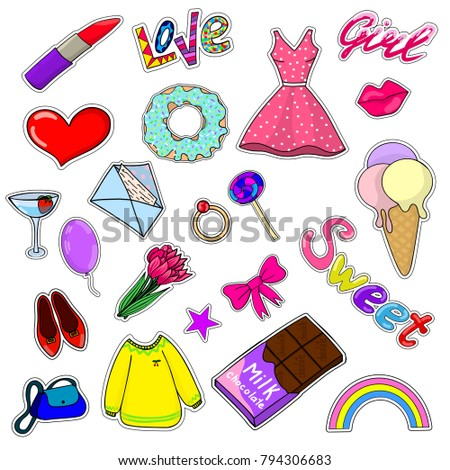 Bright set for girls. Includes clothing, accessories, ice cream, lettering. Stickers, stickers.