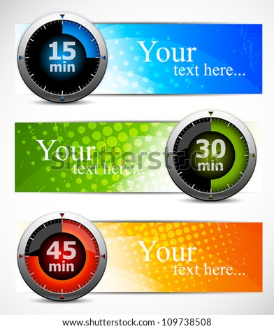 Bright set of color banners with timers - stock vector