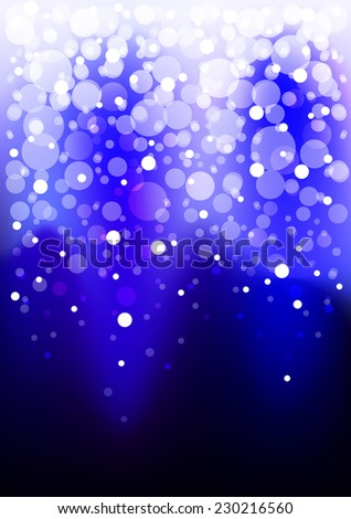Bright , shiny blue background with white , translucent circles falling from above . - stock vector