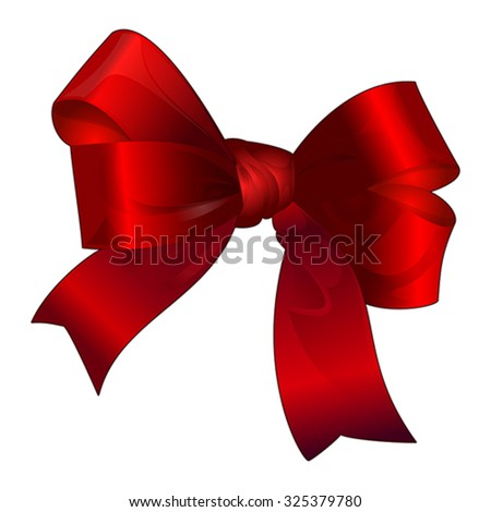 Bright silk red bowisolated on white, vector - stock vector