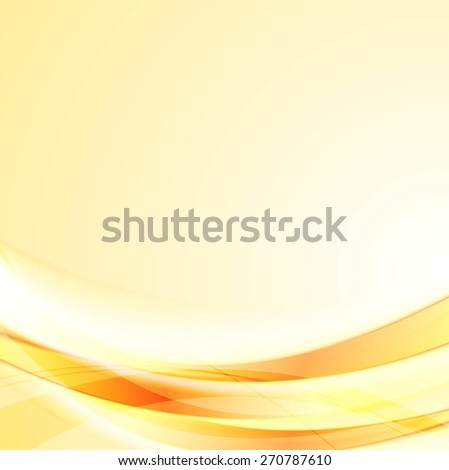 Bright smooth orange shiny waves background. Vector design - stock vector