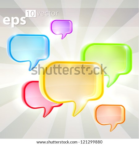 Bright speech bubble icon composition, eps10 vector background