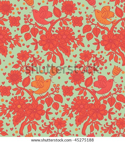 Bright spring floral seamless pattern