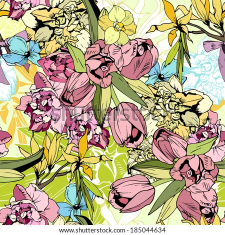 Bright spring flowers, seamless pattern hand drawn - stock vector