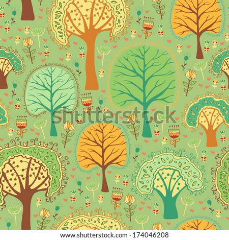 Bright spring seamless pattern of a green forest
