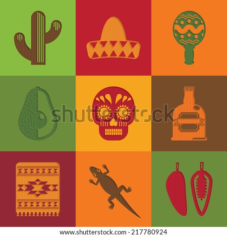 bright square cut paper mexican decorations with transparent shadows - stock vector