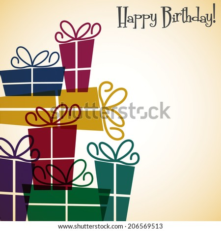 Bright stack of presents card in vector format.