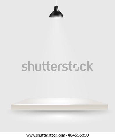 Bright stage with the lamp - stock vector