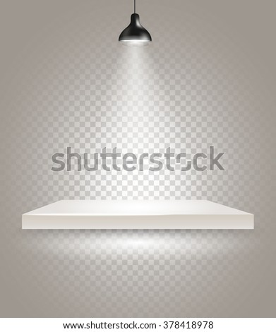 Bright stage with the lamp. Transparent background - stock vector