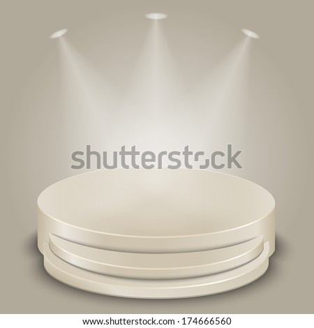 Bright stage with three spot lights vector - stock vector