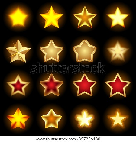 Bright star Icons set, star logos, star icon art, shiny star icons, star objects, colorful star symbols. Isolated vector illustrations. - stock vector