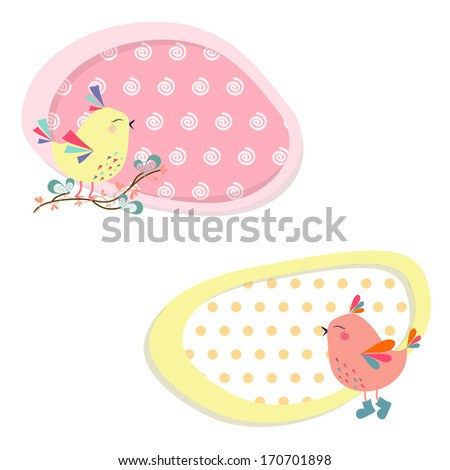 bright stickers with birds in vector. cartoon drawings for design - stock vector