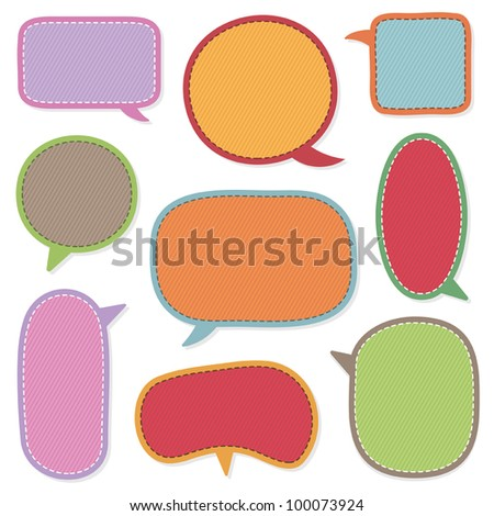 bright stitched speech bubbles isolated on white