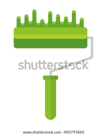 Bright stripe painted on a wall paint roller. Cartoon flat vector illustration. Objects isolated on a background.  - stock vector