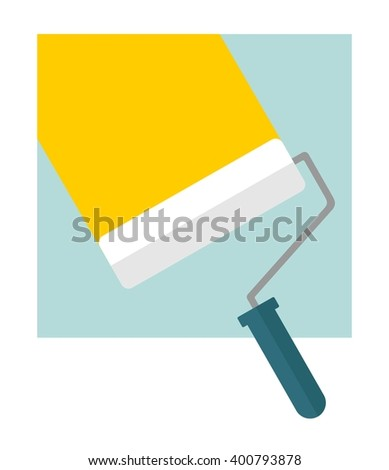 Bright stripe painted on a wall paint roller. Conceptual image of  tools for repair, construction and builder. Cartoon flat vector illustration. Objects isolated on a background.  - stock vector