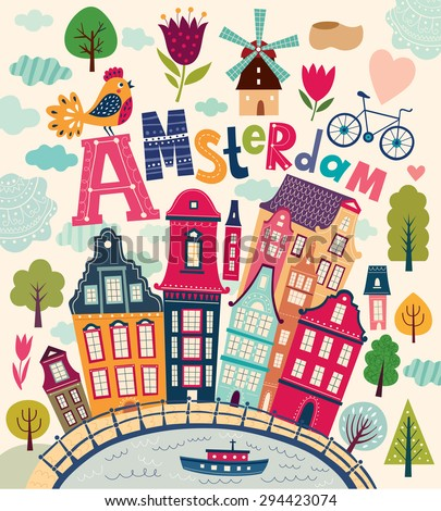 Bright stylish vector illustration with Amsterdam symbols in cartoon style. Netherlands vector symbols - stock vector