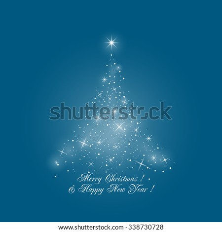 Bright Stylized Christmas Tree of Lights on Blue Background , Merry Christmas and Happy New Year,  Vector Illustration - stock vector