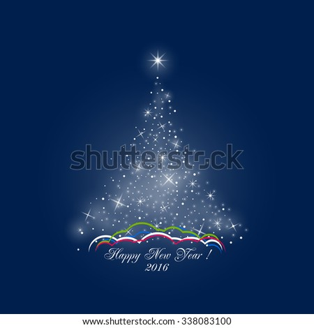 Bright Stylized Christmas Tree of Lights on Dark Blue Background ,  Colorful Snow Drifts, Happy New Year, Vector Illustration - stock vector