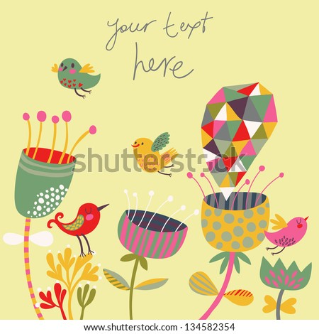 Bright summer background. Birds and flowers in cute cartoon style. Vintage vector illustration - stock vector