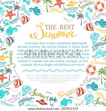 Bright Summer Background Travel Vacation Symbols Stock Vector