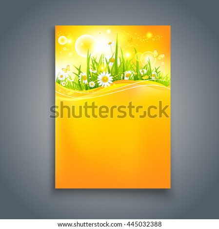 Bright summer blank with flowers. Nature template for design banner,ticket, leaflet, card, poster and so on. - stock vector