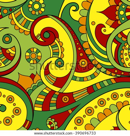 Bright summer colored ethnic Indian doodle seamless vector pattern, beautiful paisley ornament