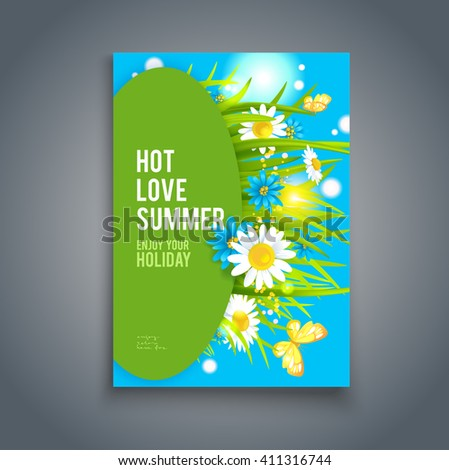 Bright summer flowers background. Nature template for design banner,ticket, leaflet, card,  poster and so on. - stock vector