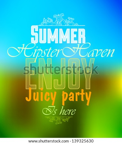 Bright summer hipster label text, discounts, advertising, on an abstract, colorful background.