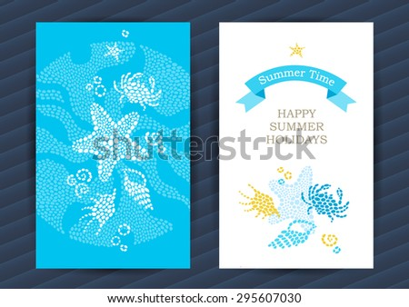 Bright Summer Holidays cards with sea elements. Sea pattern with seashells and starfish. Place for your text. Template frame design for banner, placard, invitation. Marine life vector background. - stock vector