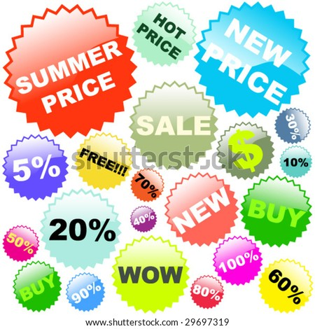 Bright summer sale stickers in vector