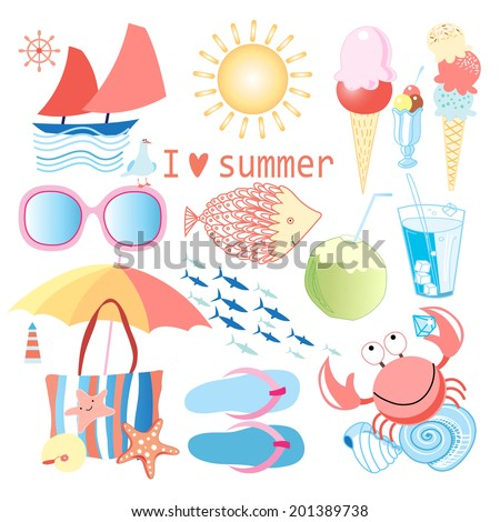 bright summer set with various objects on white background   - stock vector