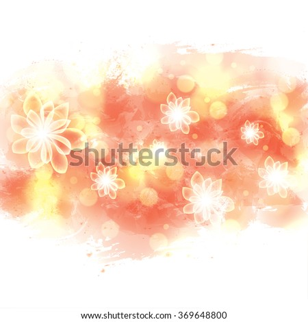 Bright summer spring glowing flowers watercolor background  - stock vector