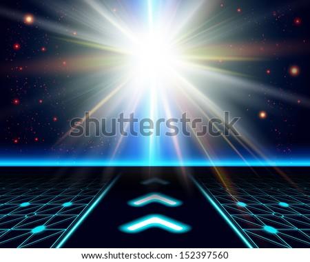Bright sun burst. Fantasy cosmic background. Vector image.  - stock vector