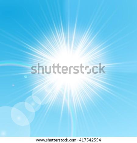 Bright sun shining in the blue sky. Vector illustration - stock vector