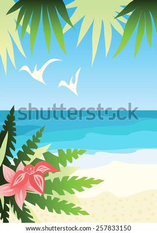 Bright sunny beach. Vector illustration - stock vector