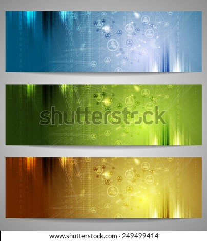 Bright technology banners. Vector design - stock vector