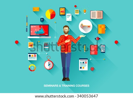 Bright technology education set of flat concepts icons for training and courses with man with beard in sweater in business, finance, consulting, management, human resources, career, staff training